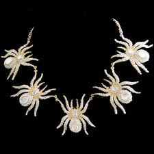 Spider Tarantula Necklace Pendant Clear Rhinestone Crystal Animal Gold GP