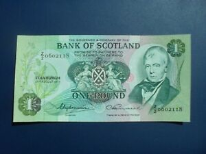 SCARCE Z/2 REPLACEMENT 1977 BANK OF SCOTLAND £1 BANKNOTE ORIGINAL GEF