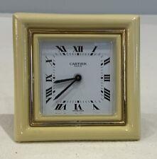 Vintage Cartier Cream Enamel Desk Clock And Alarm