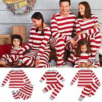 Family Matching Christmas Pajamas Set Adult Kid Baby Striped Sleepwear Nightwear