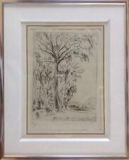 André DUNOYER de S.1894-1974.Les Grands Peupliers.Eau-forte sur vergé.SBD.18x13.