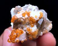 27g Natural Fanta Spessartine Garnets Mica Smoky Quartz Crystal Specimen FuJian