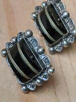 Vintage Taxco Black Obsidian Sterling Silver Screw Back Earrings
