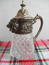 Scarce Royal LION Head Grape Press Glass Patina Silver Metal SYRUP Milk PITCHER