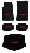 NEW! BLACK FLOOR MATS 2010-2014 Chevy Cruze with Red Embroidered Logo on all 5
