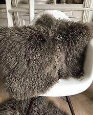 Luxus Kissen Tibetlamm Mongolisches Sheepskin maronen braun taupe 45x45cm weich
