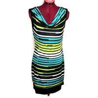 Joseph Ribkoff Womens Dress 6 Blue Green Stripes Layered Draped Neck