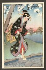POSTCARD:  JAPANESE GEISHA CROSSING STREAM by SOFIA CHIOSTRI, Series 290, Unused