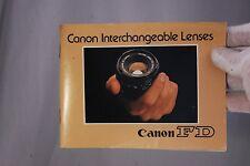 Canon FD Interchangeable Lenses Instruction Guide Booklet List (EN) 7210043