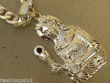 Men's Large Silver Plated Santa Barbara Red CZ Charm & Cuban Chain 24 inch Set