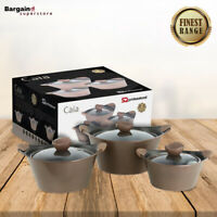 3pc Caia Non Stick Die Cast Stockpot Casserole Set With Lid Cooking Pan Brown
