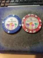The Mirage Casino $5 +$1 Gaming Chips Palm Trees Red + Blue Vintage Las Vegas NV