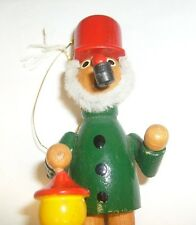 Vintage wood Christmas ornament Man with pipe and lantern - cute ! Xmas - / l1