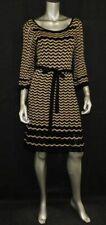 JULIAN TAYLOR NEW YORK Black/Tan Chevron 3/4 Sleeve Tie Waist Sweater Dress sz S