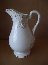 Vintage Retro Pottery Dresser Jug Shabby Chic White Gold Grapes Design 18cm Tall