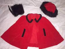 American 18 inch  Doll Red  Black Fur Winter Snow Cape Hat Girl Muff