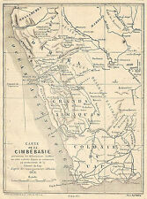 NAMIBIE NAMIBIA PEUPLES TRIBUS TRIBES CARTE GEOGRAPHIQUE GEOGRAPHIC MAP 1879