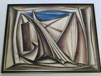 RARE EMIL KOSA JR PAINTING MID CENTURY MODERN ABSTRACT CUBISM CUBIST  LARGE 1950