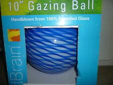 "New Very Rare 10"" Gazing Ball White Blue Ocean Swirl Handblown Glass - Oop"