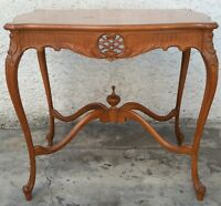 Vtg Walnut Carved French Inlaid Flower Parlor Side Lamp Table Carved LA Area