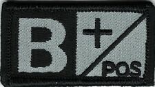 Grey Gray Black Blood Type B+ Positive Patch VELCRO® BRAND Hook Fastener Compati