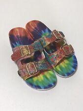 Nicole Miller Blingle Sparkle Tie-Dye Sandals Sz 8 EU 39 New Without Box