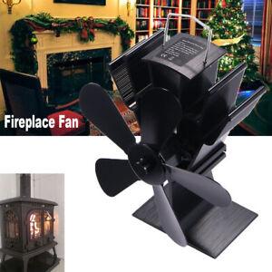5 Blades Heat Powered Stove Fan Wood Log Burner Fireplace Fuel Saving Eco USA