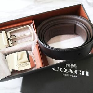 COACH Signature Plaque Harness Cut-To-Size Reversible Leather Belt F65185 $195