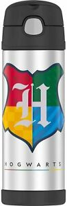 Thermos Harry Potter Hogwarts 16oz Insulated Water Bottle Black w Carrying Loop