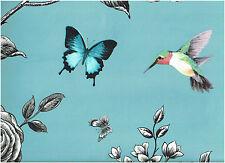 Rose Garden Teal, Bird, Butterfly & Floral Print Wallpaper