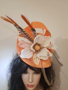 Fascinator hatinator hat races wedding costume formal orange - one off