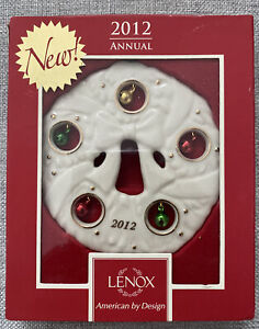 Lenox 2012 Annual Jolly Jingle Bell Wreath Ornament Pierced Porcelain NEW