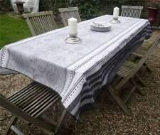 Tischdecke Provence 150x350 cm grau weiß aus Frankreich, pflegeleicht bügelfrei