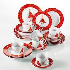 30Pcs Xmas Christmas Tree Dinner Set Red Porcelain Tableware Plates Bowls Gift