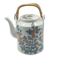 Floral Teapot ACF Japanese Porcelain Ware Woven Handles Vintage Hong Kong