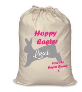 Personalised kids name Hoppy Easter glitter bunny rabbit egg treats sack bag