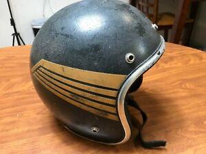VINTAGE 70'S 1971 ARTHUR FULMER BLACK WINGS OPEN FACE MOTORCYCLE HELMET LARGE