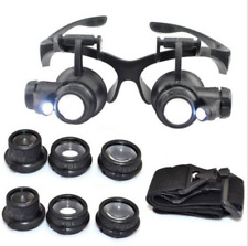 Durable LED Magnifier Double Eye Glasses Loupe 8 Lens Jeweler Watch Repair