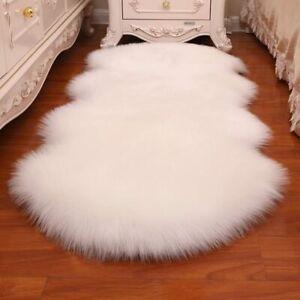 Furry Faux Sheepskin Area Rug Silky Long Wool Carpet Living Room Bedroom