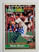 1992 Topps Wade Boggs Autograph All Star Card Auto Red Sox Yankees HOF Signed