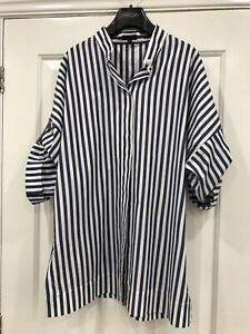 Escada Ladies Blue & White Stripe Shirt Size 40