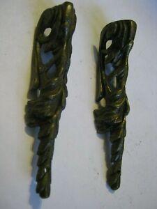 "Pair of Cast Brass Acanthus Leaf 4.25"" Leg Corner Ornaments for Restoration DIY"