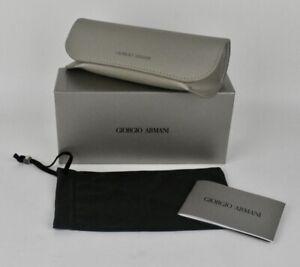 Giorgio Armani Sunglasses Case Semi Soft Grey Taupe with Box Booklet Pouch NEW