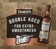 (L@@K) Dewars Double Aged Scotch Whiskey Pointing Finger Tin Sign Game Room NEW