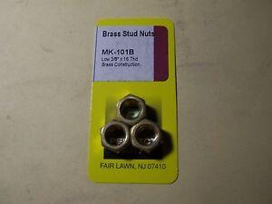 """MANIFOLD STUD NUTS - BRASS STUD NUTS - LOW 3/8"""" x 16 THREAD"""