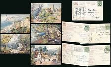 ISLE of WIGHT HANTS TUCKS OILETTE 7587 ARTIST WIMBUSH...5 CARDS POSTALLY USED