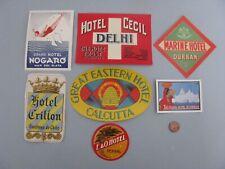VINTAGE HOTEL LUGGAGE LABELS ART DECO 1930'S LOT 7 INDIA AFRICA VENEZULA CHILE +