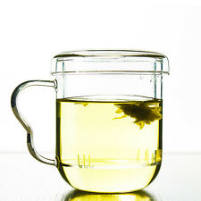 300ml 10 Fl.oz Heat Resisted Clear Glass Tea Cup Herbal Mug With Infuser & Lid