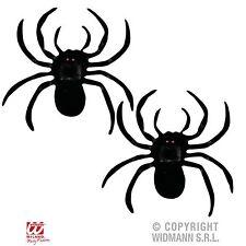 Spinnen 2 Stück schwarz beflockt Halloween Fasching Party Deko Plastik 8257