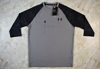Men's Under Armour UA Black Gray 3/4 Sleeve Camo Heat Gear Size Medium